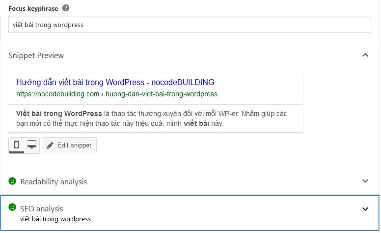 yoast seo trong giao diện viết bài wordpress